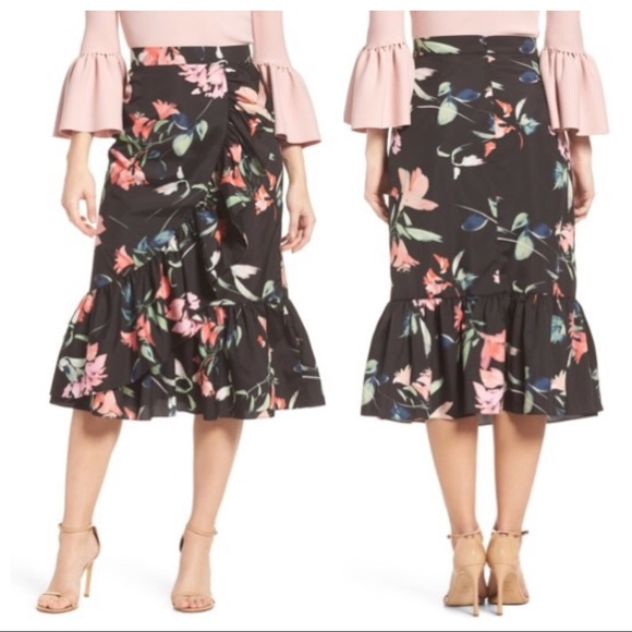 03c5f7c841 Eliza J Dresses & Skirts - Eliza J Floral Taffeta Ruffle Midi Skirt